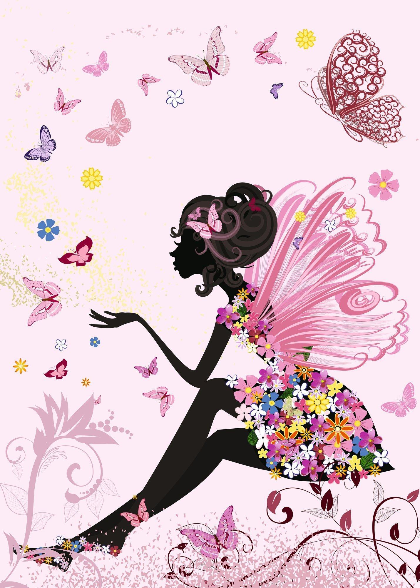 Открытки, картинки девушка цветы бабочки вектор